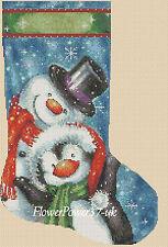 Cross stitch chart  Christmas Stocking Penguin & Snowman  FlowerPower37-uk