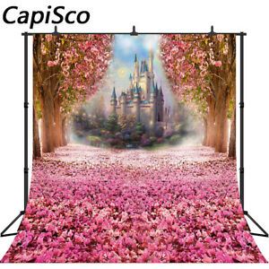 Photography Backdrops Rainbow Tale Castle Pink Flowers Baby Shower Backgrounds