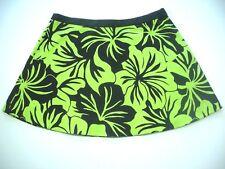 Michael Kors size 16 mini skirt Lime Green Black floral beach Cruise wear