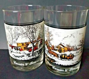 Currier and Ives Frozen Up American Farm In Winter Arbys 1978 Collector Glasses