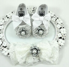 Baby Girl Crib Shoes and Headband Set, Newborn Baby Girl Shoes, 6 to 9 Months