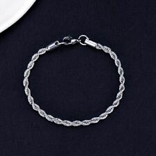 925 Silver Plated Fashion Jewelry Diamant Cut Chain Twisted Rope 4mm Bracelet.