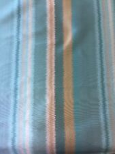 SMD Faux Silk Striped Reversible Curtain Fabric Blue,gold, Ivory 5.8m Piece