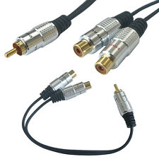 Useful 25cm RCA Male to 2 RCA Female Jack Y Splitter Audio Video Adapter Cable