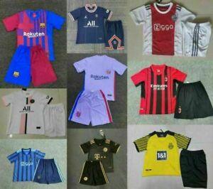 21/22 New Kids Boys Full Football Kit Soccer Custom Strips Jersey Training Suit