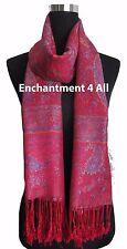 Large Paisley 2-Ply 100% Cashmere Pashmina Shawl Wrap, Burgundy