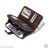 Vintage Cowhide Leather Men Wallet ID Credit Card Holder Purse Zipper Coin Pouch