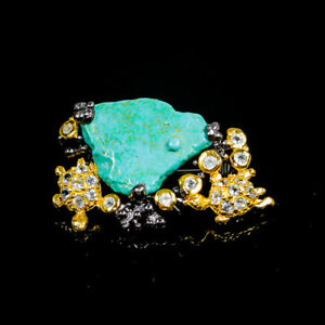 Handmade Natural Turquoise 925 Sterling Silver Brooch /NB07952