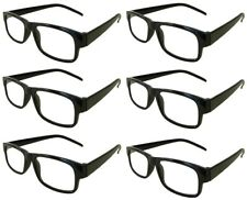 Reading Glasses [+4.00] 6 Pair Black Plastic Frame Unisex Wholesale Lot 4.00