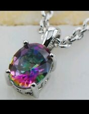 925 Sterling Silver Rose Rainbow Crystal Zircon  Pendant  NO CHAIN PROVIDED