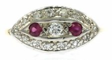 Vintage Ruby and Diamond Ladies Ring in 14kt Two-Tone Gold
