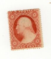 U.S. # 26 Mint Hinged OG -3 cent  CV $200.00 left frame line recut only