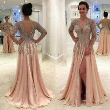 Gorgeous Crystals Deep V Neck Evening Gown Backless Side Split Prom Formal Dress