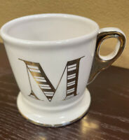 Anthropologie Limited Edition Gold Letter M Initial Monogram 13 oz White Mug Cup