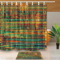 Retro Vintage Texture Bathroom Waterproof Fabric Shower Curtain With 12 Hook Set
