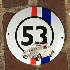 Herbie the LOVE BUG Volkswagen Beetle Small Porcelain Enamel Garage Sign