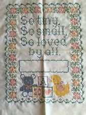 Finished VTG Current Cross Stitch Baby Sampler Beautiful Work- You Stitch Name