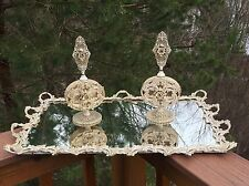 Antique French Baroque Dresser Set Vanity Mirror Tray & Filigree Perfume Bottles