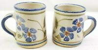 Hand Thrown Studio Pottery Art Mugs Cups Floral Design Handmade Signed Set of 2