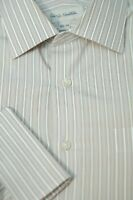John W. Nordstrom Men's Beige White & Blue Stripe Cotton Dress Shirt 16.5 x 34