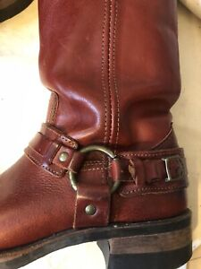 Unique Frye 12R Belted Harness Boots Women's Size 9 - Dark Red
