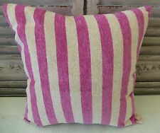 Soft velour fuschia and bone stripes cushion cover