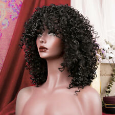 Women Long Curly Synthetc Hair Full Wig Cosplay Brown Heat Resistant Afro Wigs Black