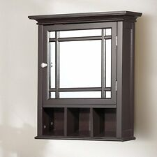 Brown Mirror Surface Mount Medicine Cabinet Home Bathroom Furniture Storage