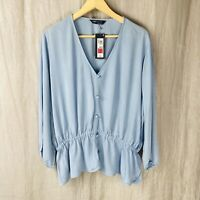 *BNWT* M&S Chambray Blue V-Neck SIZE 18 UK Long Sleeve Pulled Tunic Top WO1