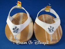 Build-A-Bear WHITE SPARKLE FLIP-FLOPS DIAMOND GEM FLOWER Teddy Sandals Shoes