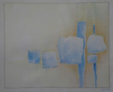 "ROBERT FRAULOB - Crayon  "" COMPOSITION ABSTRAITE "" -  1983"