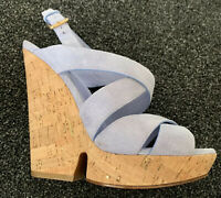 YSL Yves Saint Laurent Suede Wedge Sandals Size 38