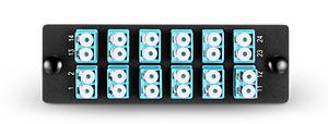 Fiber Adapter Panel with 12 LC Duplex 10G OM3/OM4 Multimode Adapters(Aqua) -0617