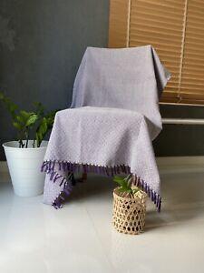 Thai Hand Woven Loomed Cotton Sofa Blanket Throw Rug Chair Thread Blanket