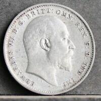 Edward VII Sterling Silver Threepence, 1908. gEF