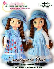 "Digital Pattern Dress Hat Pinafore for 16"" Disney Animator Dolls Disney Princess"