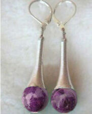 Long Beautiful purple jade Tibet Silver dangle earring
