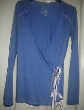 Urbane 10 Blue Soft Cotton Velvet Trim Tie Waist Long Sleeve Wrap T Shirt Top