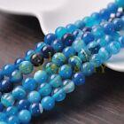 30pcs 8mm Round Natural Stone Loose Gemstone Beads Lake Blue S Agate