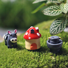 3pcs Mini Donkey U0026 House Bonsai Micro Landscape Pots Garden Fairy DIY  Ornament