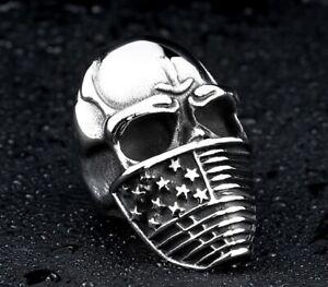 Men Hip Hop /Punk Fashion Retro Skull Flag Titanium Stainless Steel Ring 10-12