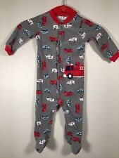 Child Of Mine Made By Carters Sleeper 6-9 Mos Gray with Emergency Vehicles