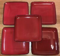 "SET OF 5 - HOME TRENDS - RAVE RED 10 3/4"" SQUARE DINNER PLATES - BLACK TRIM"