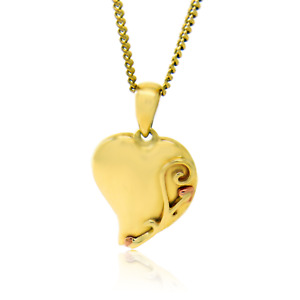 Clogau Gold Pendant 9ct Heart 18''  Chain Welsh Yellow Rose Tree of Life TOP001
