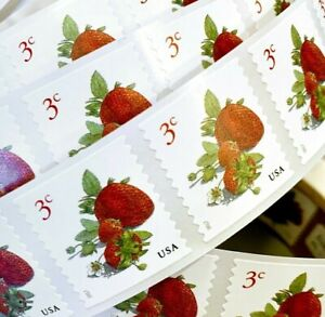 US 5201 Strawberries 3c (2017) - 50 Postage Stamps, Coil Single Strip