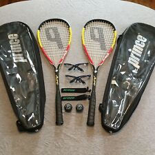 PRINCE Power Fan  Arc Squash Set *Lot Of (2) Racquets, Balls, Glasses & Cases