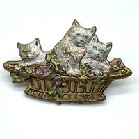 Vintage Brooch 3 Kittens in a Basket Gold-tone Cat Pin Pressed Metal Enamel A11