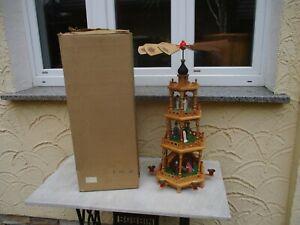 alte Origin. DDR Erzgebirge Weihnachtspyramide Geburt Jesus mit OVP, H=64 cm