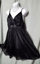 "AMOUREUSE BLACK  NIGHTGOWN KNEE LENTGH  SEXY WOMEN  SIZE MEDIUM GIFT 42"" BUST"