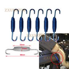 6x Blue 68mm Motorcycle Exhaust Muffler Pipe Stainless Steel Springs Hook Hanger
